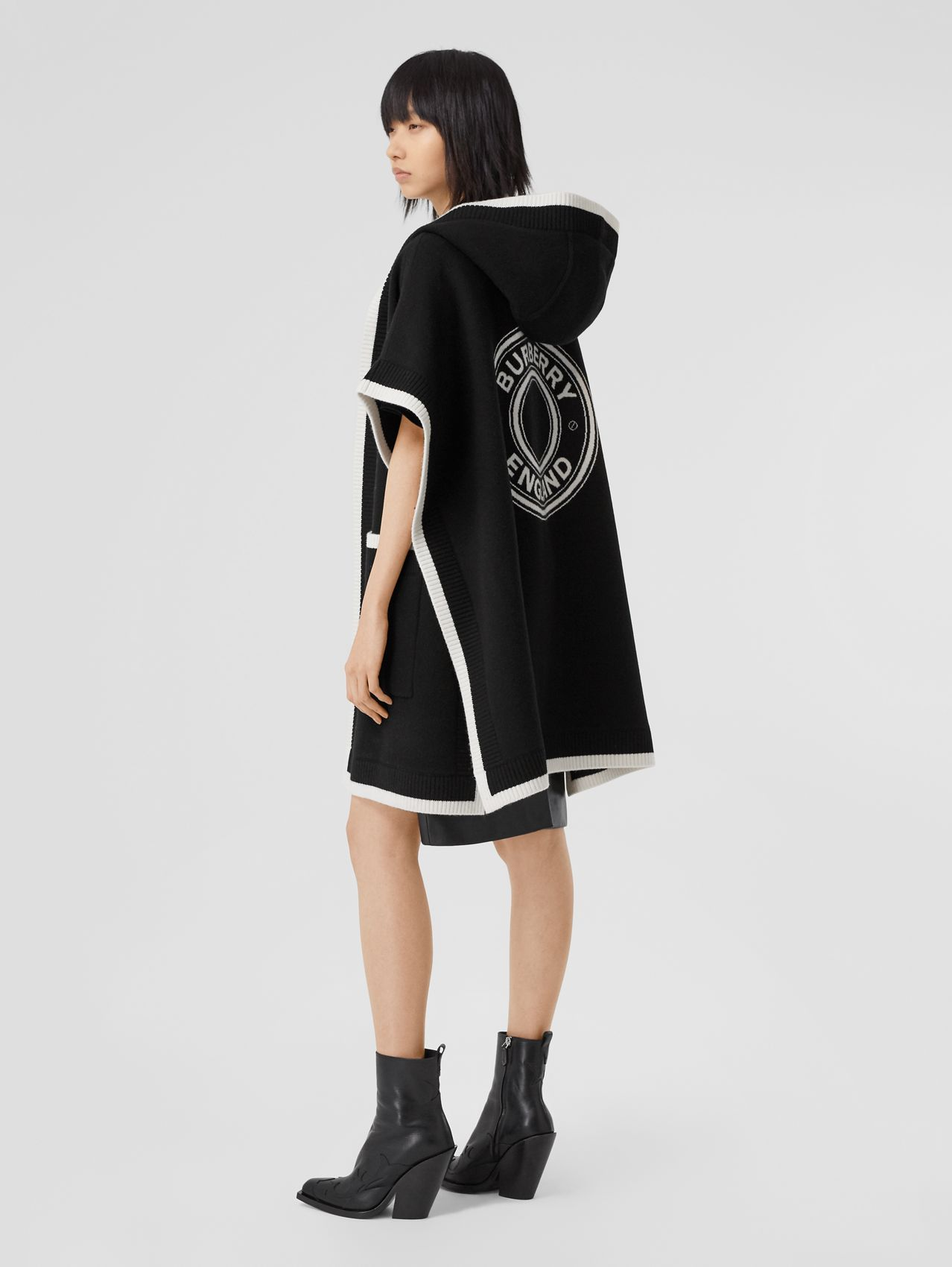 Logo Graphic Wool Cashmere Jacquard Hooded Cape in Black