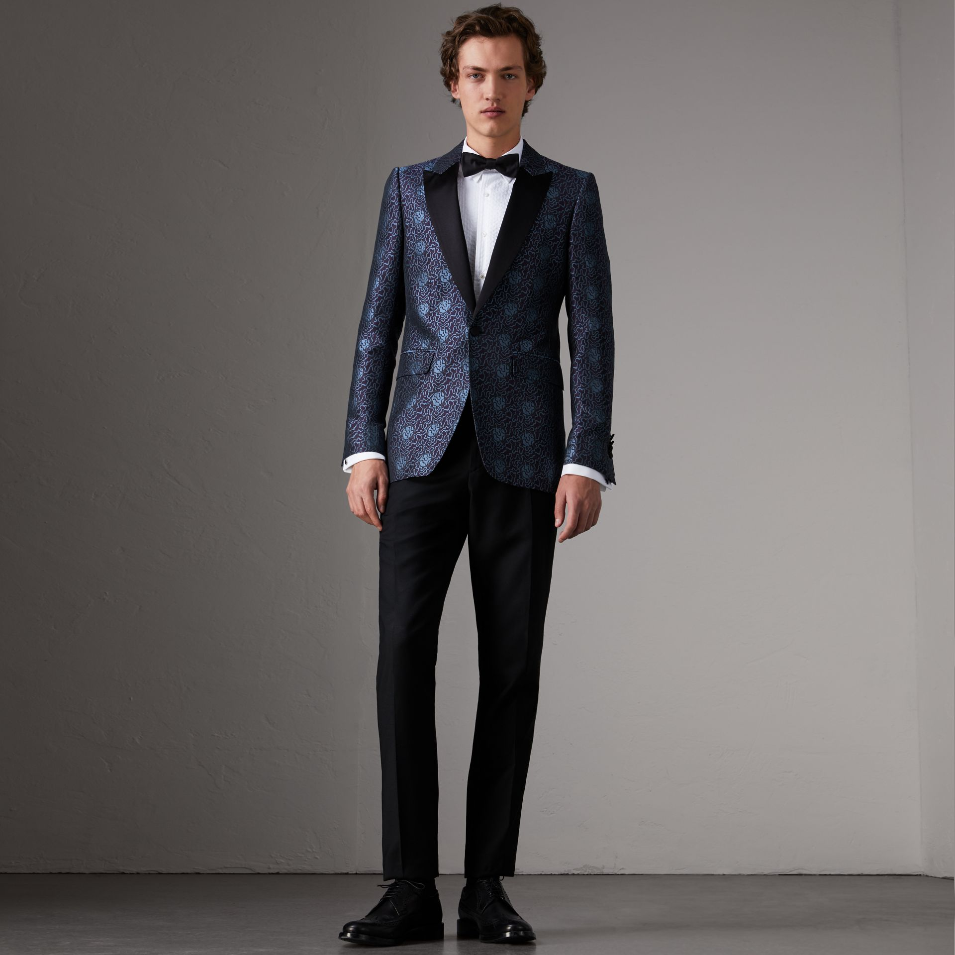 Slim Fit Swirl Silk Cotton Jacquard Evening Jacket in Steel Blue - Men | Burberry United Kingdom - gallery image 0