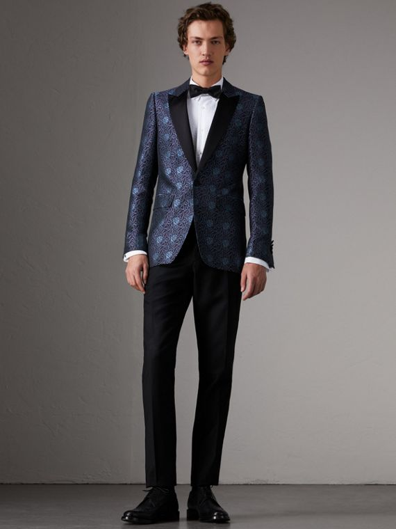 Slim Fit Swirl Silk Cotton Jacquard Evening Jacket in Steel Blue