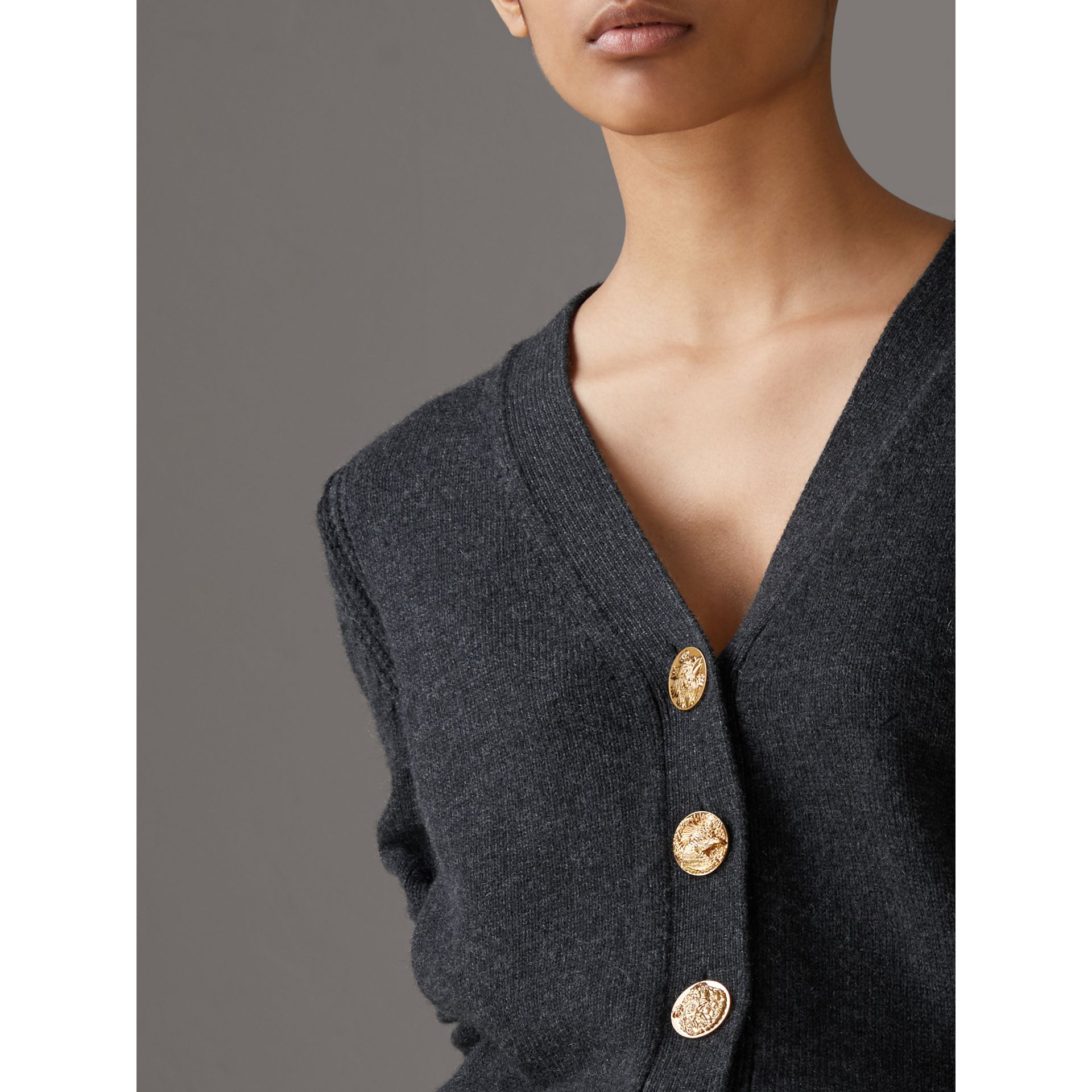 Bird Button Cashmere Cardigan in Charcoal - Women | Burberry Hong Kong - gallery image 1