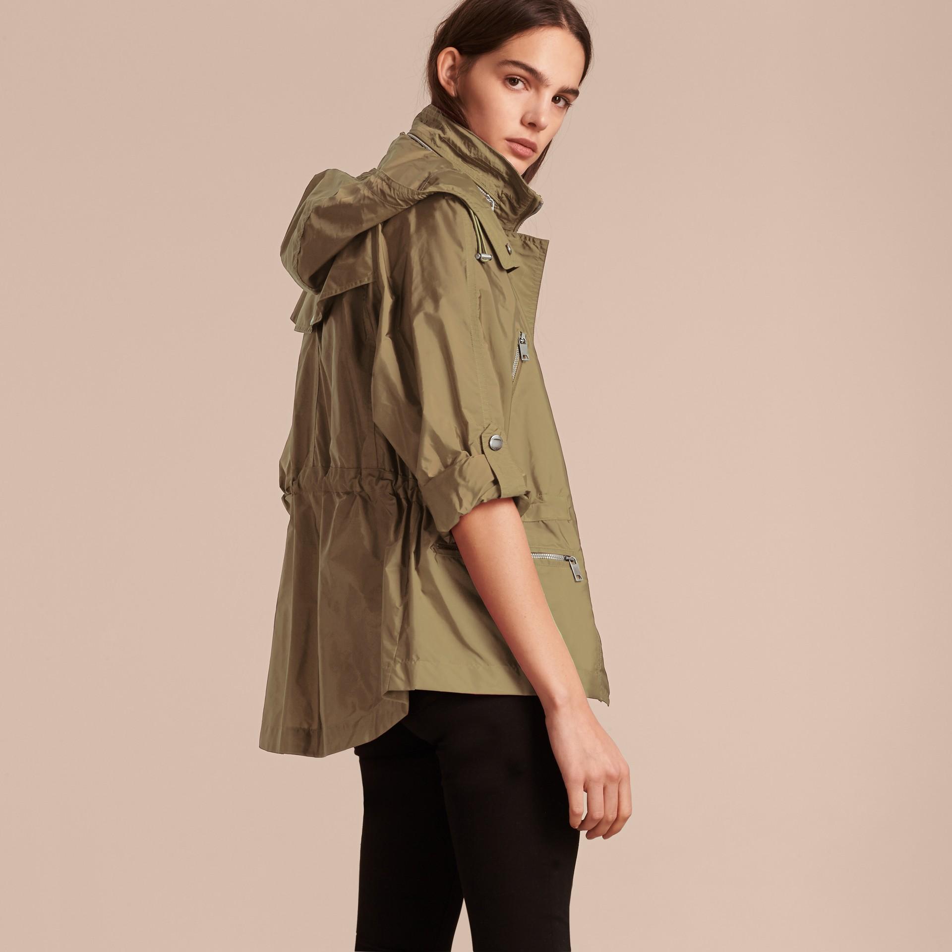 Showerproof Parka Jacket with Packaway Hood Sisal - gallery image 3