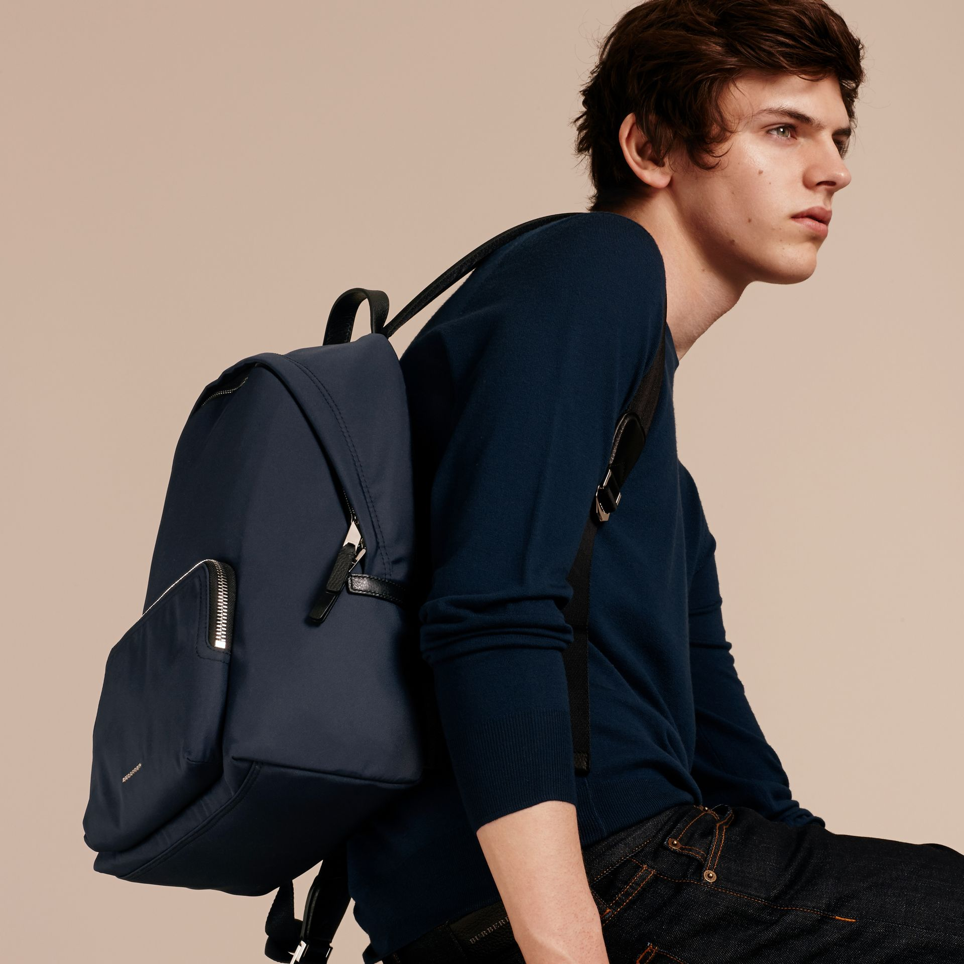 Dark navy Leather Trim Nylon Backpack - gallery image 3