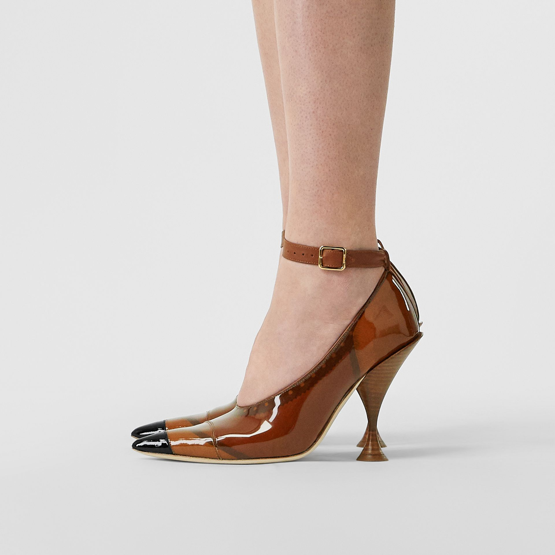 Vinyl and Leather Point-toe Pumps in Malt Brown - Women | Burberry United Kingdom - gallery image 2