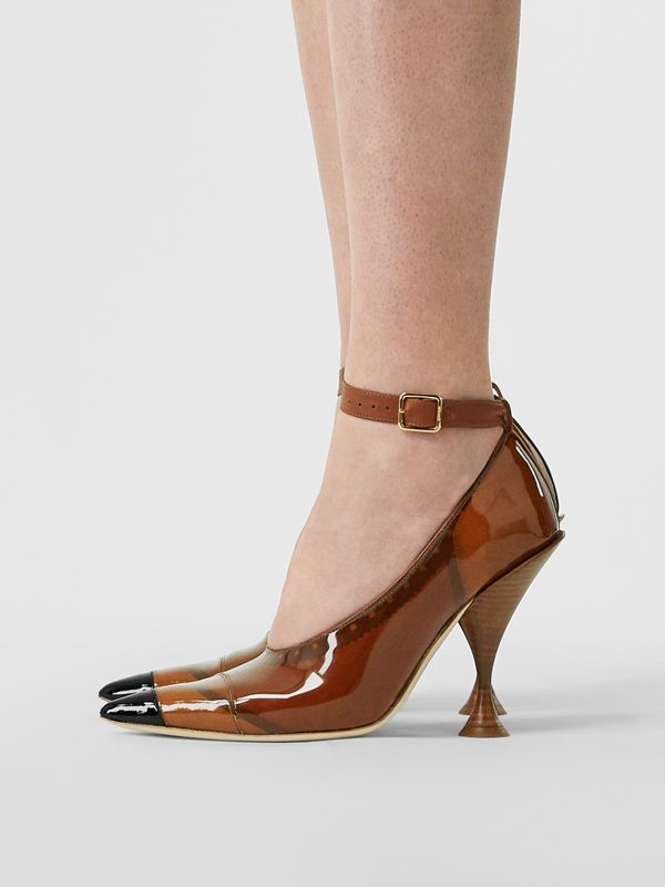 Vinyl and Leather Point-toe Pumps in Malt Brown - Women | Burberry - cell image 2