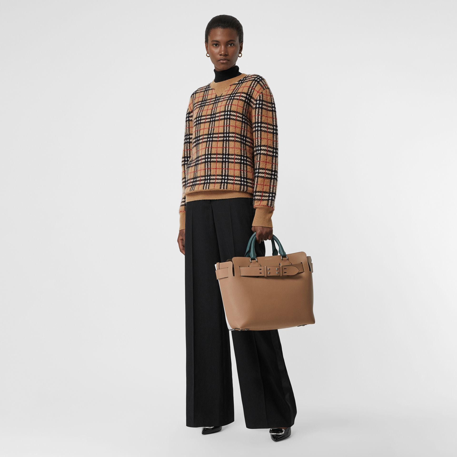 Vintage Check Cashmere Jacquard Sweater in Camel - Women | Burberry United Kingdom - gallery image 0