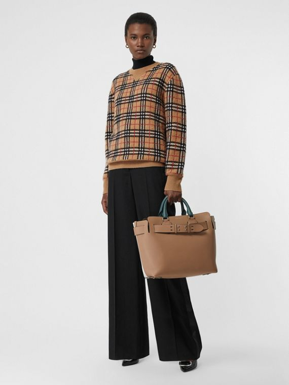 Vintage Check Cashmere Jacquard Sweater in Camel