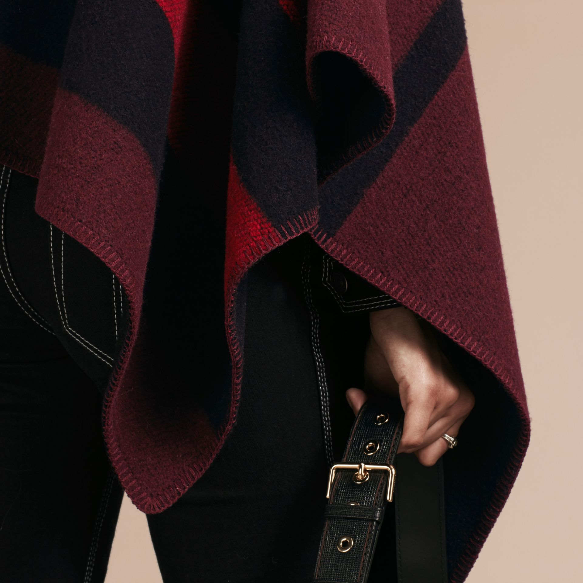 Oxblood Check Wool and Cashmere Blanket Poncho Oxblood - gallery image 5