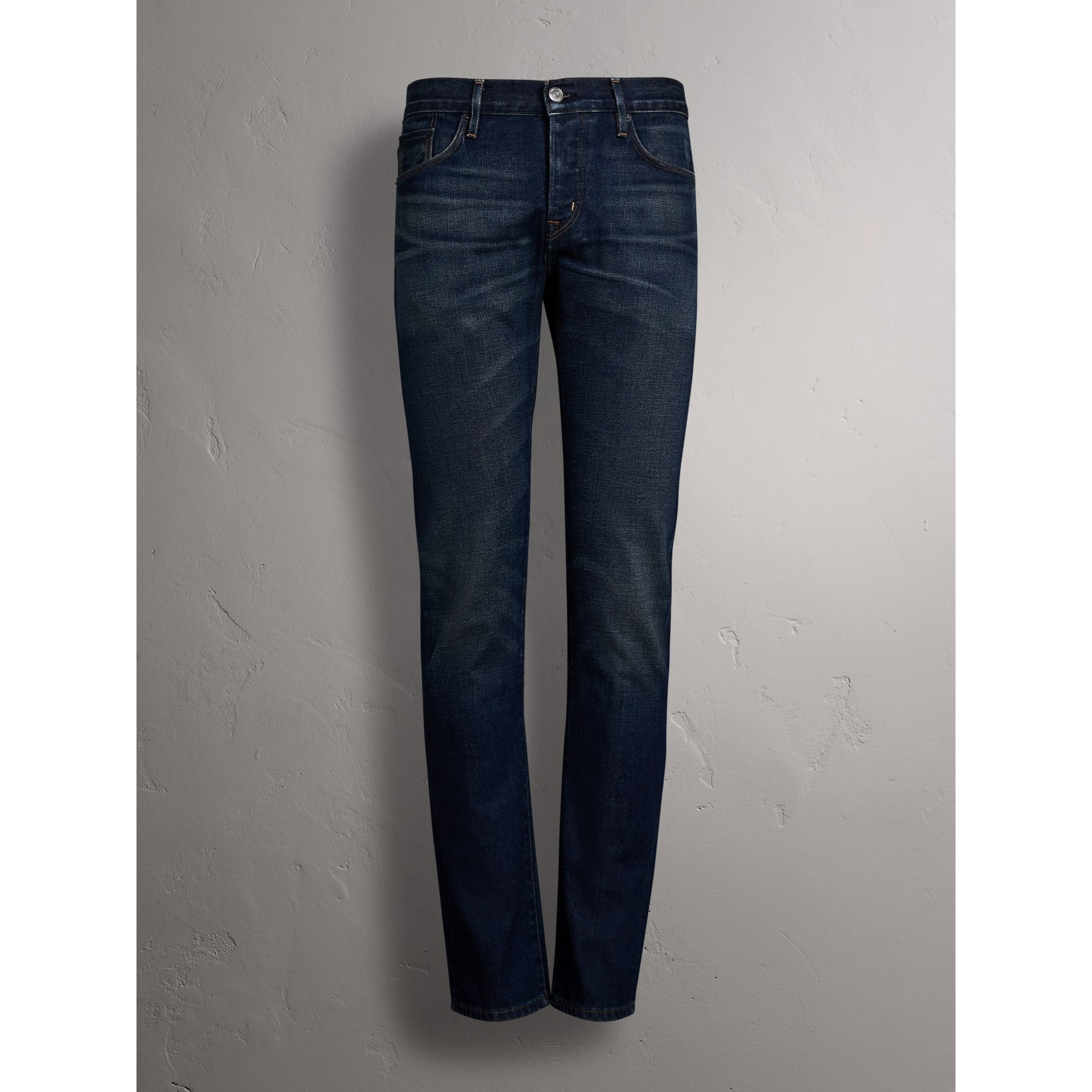 Straight Fit Brushed Denim Jeans in Vintage Blue - Men | Burberry Australia - gallery image 4