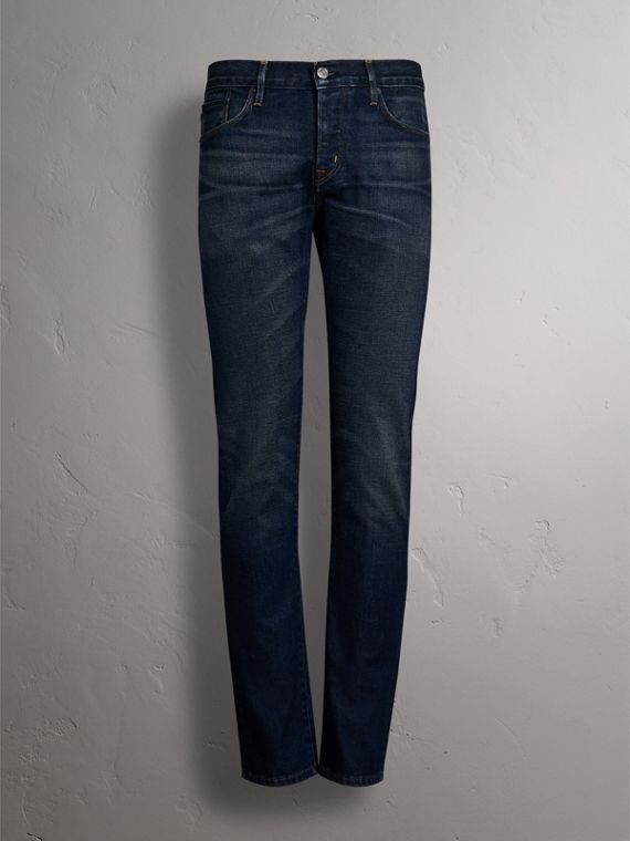 Straight Fit Brushed Denim Jeans in Vintage Blue - Men | Burberry - cell image 3
