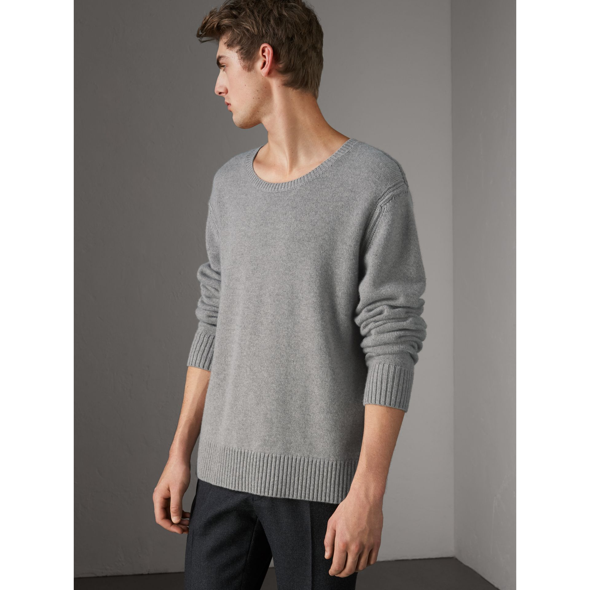 Open-knit Detail Wool Cashmere Sweater in Light Grey Melange - Men | Burberry United States - gallery image 0