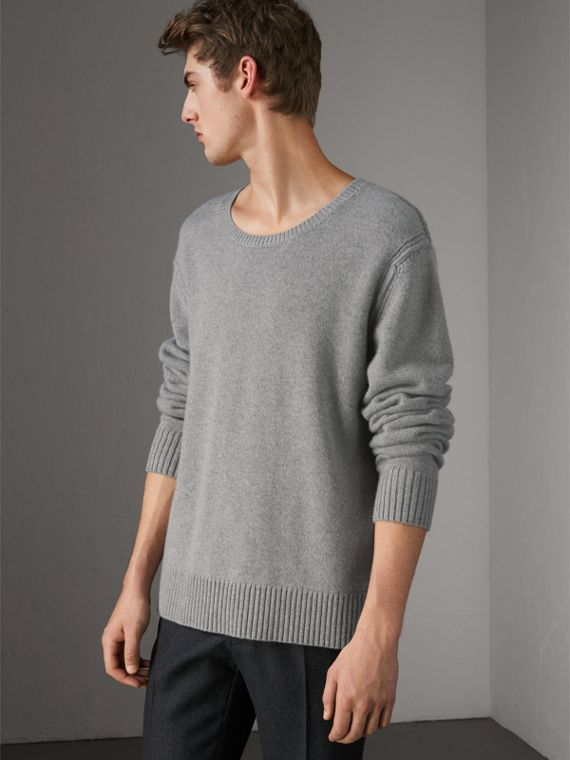 Open-knit Detail Wool Cashmere Sweater in Light Grey Melange