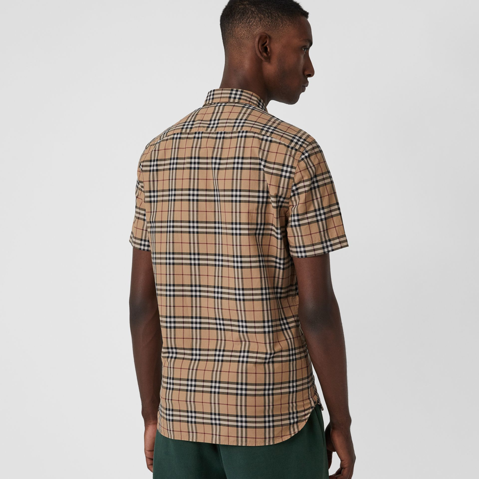 Short-sleeve Check Cotton Shirt in Camel - Men | Burberry Australia - gallery image 2