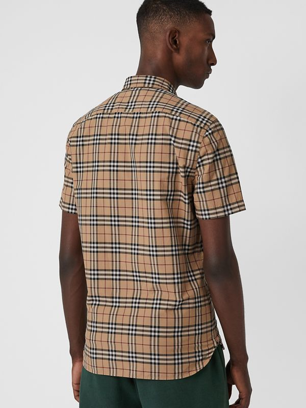 Short-sleeve Check Cotton Shirt in Camel - Men | Burberry United Kingdom - cell image 2