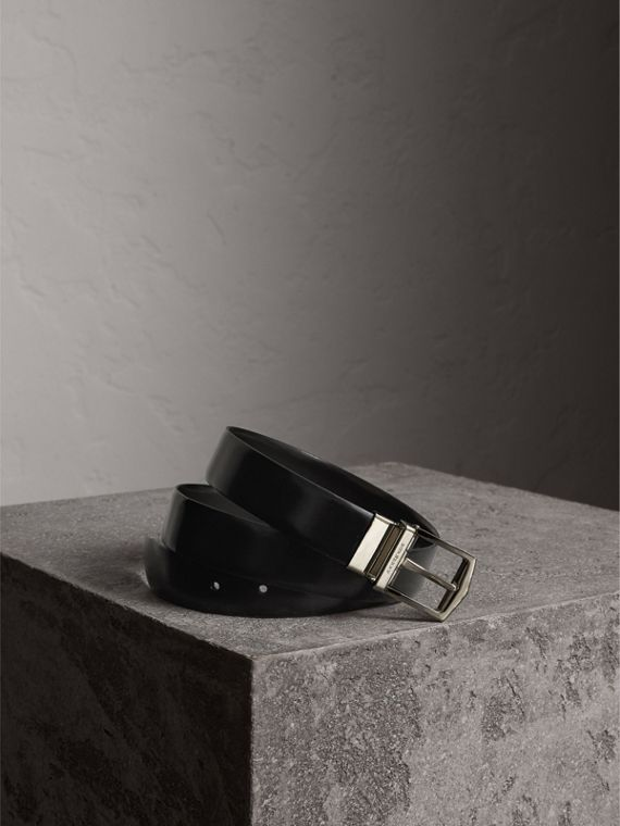 Reversible Bridle Leather Belt in Black/chocolate