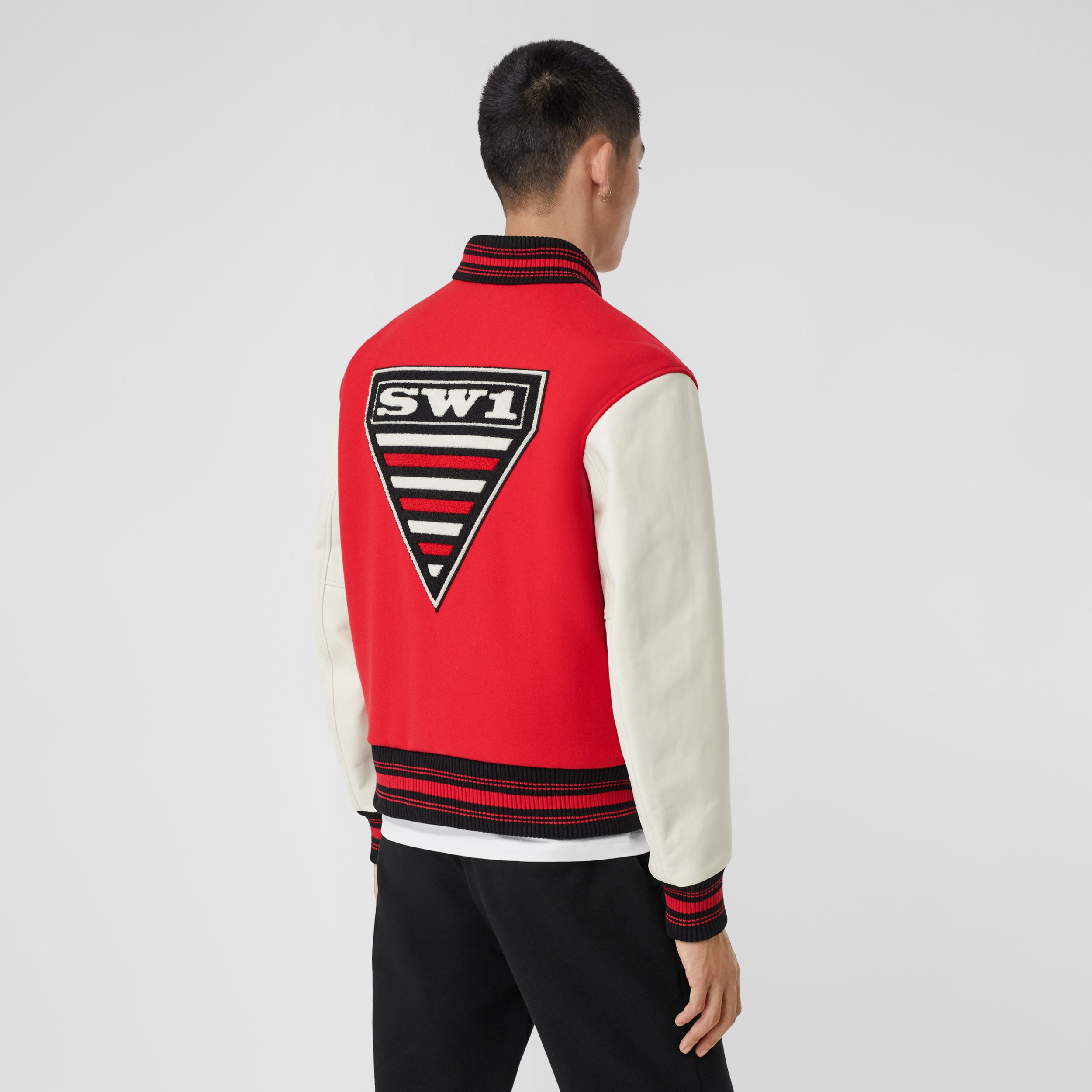 Contrast Sleeve Monogram Motif Wool Bomber Jacket in Bright Red - Men | Burberry - 3