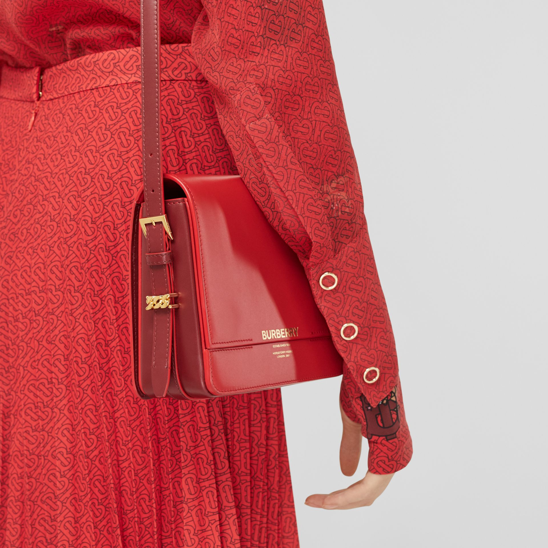 Small Two-tone Leather Grace Bag in Bright Red/burgundy - Women | Burberry - gallery image 8