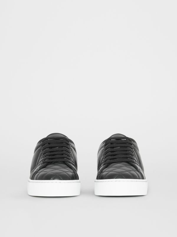 Check-quilted Leather Sneakers in Black - Women | Burberry Canada - cell image 3