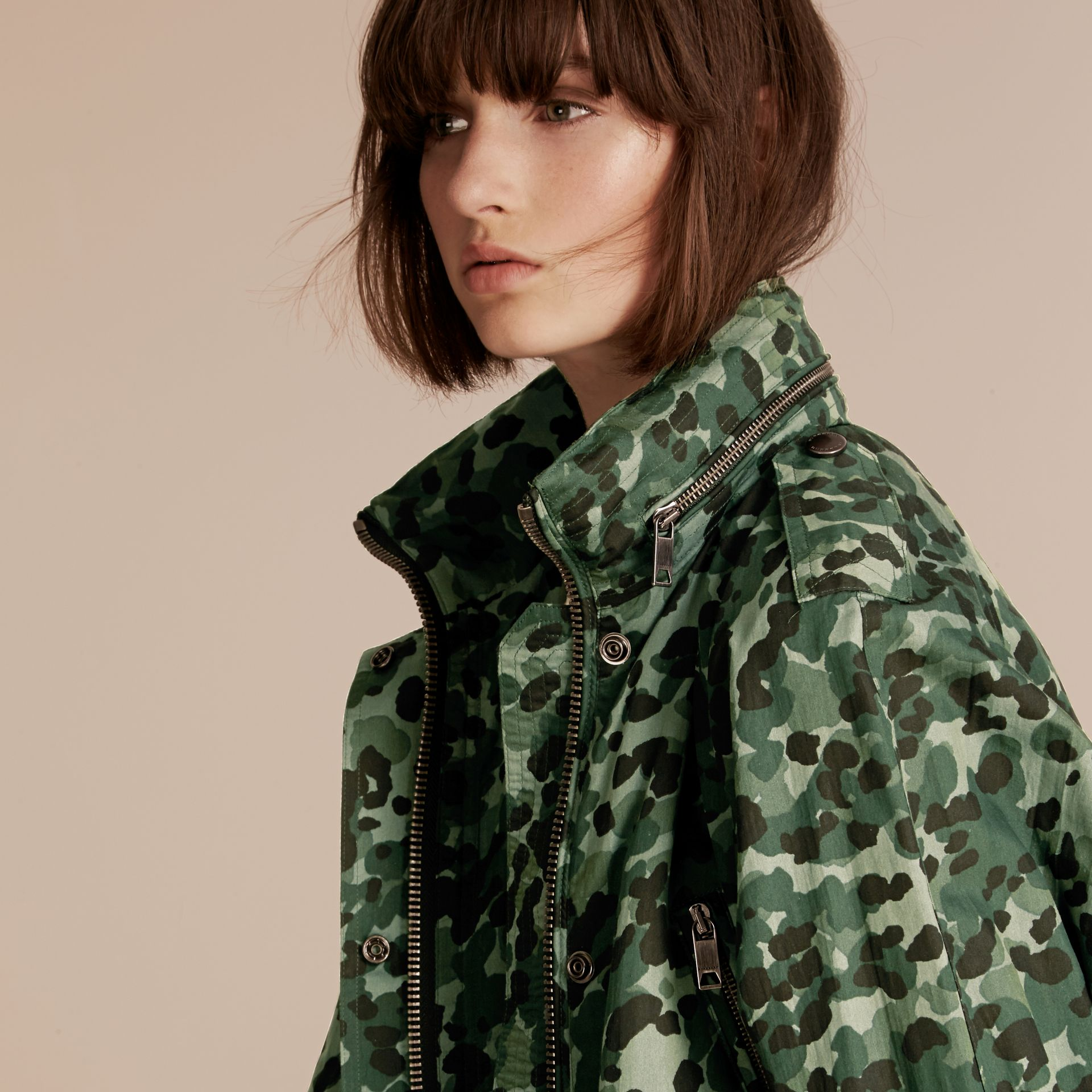 Deep bottle green Showerproof Cotton Parka Jacket with Packaway Hood - gallery image 5