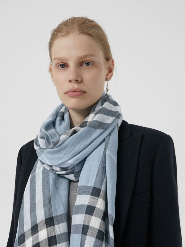 Lightweight Check Wool and Silk Scarf in Dusty Blue - Women | Burberry - cell image 3