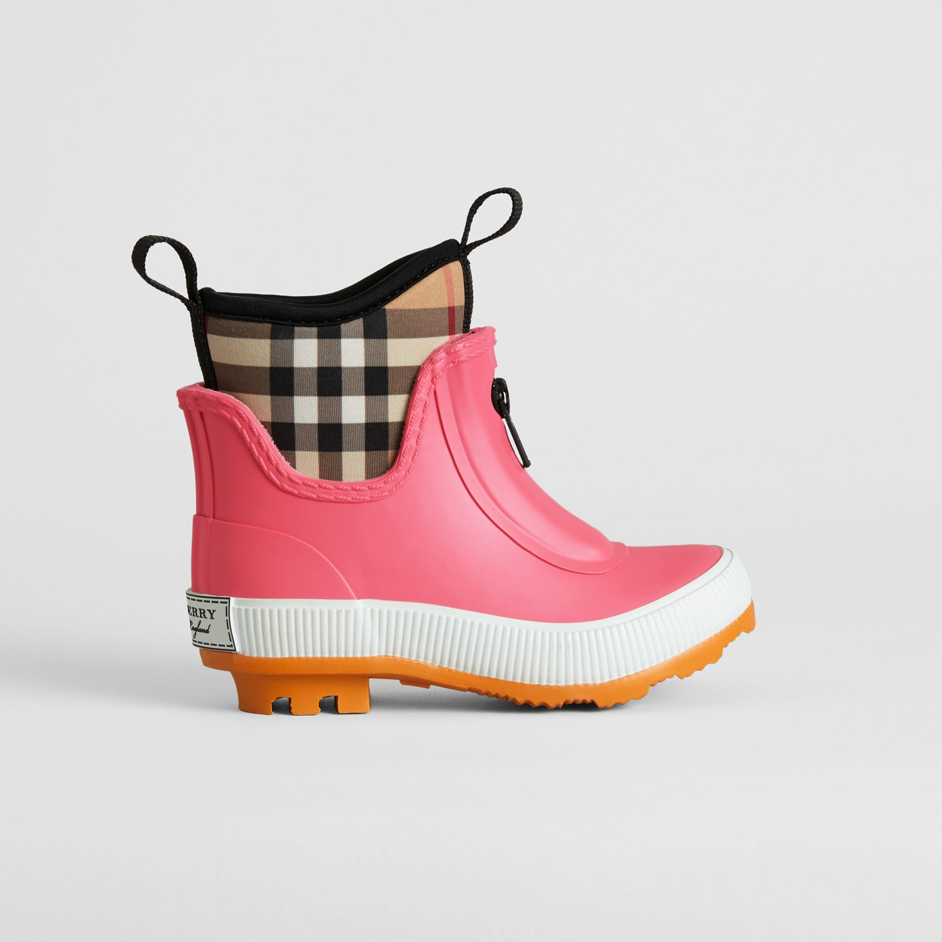 Vintage Check Neoprene and Rubber Rain Boots in Pink Azalea - Children | Burberry Singapore - gallery image 2