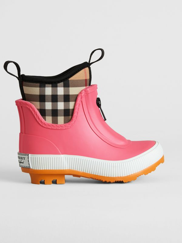 Vintage Check Neoprene and Rubber Rain Boots in Pink Azalea - Children | Burberry Singapore - cell image 2