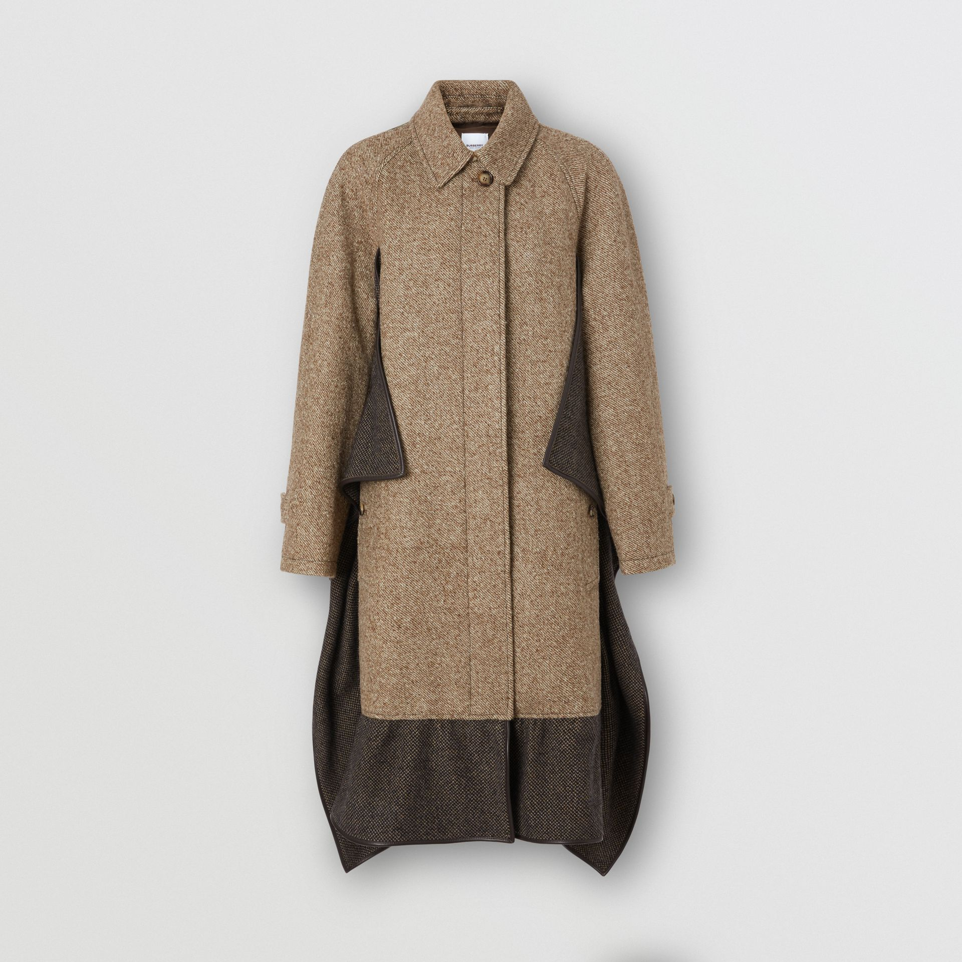 Scarf Detail Wool Mohair Tweed Car Coat in Dark Cheshnut Brown - Women | Burberry - gallery image 3