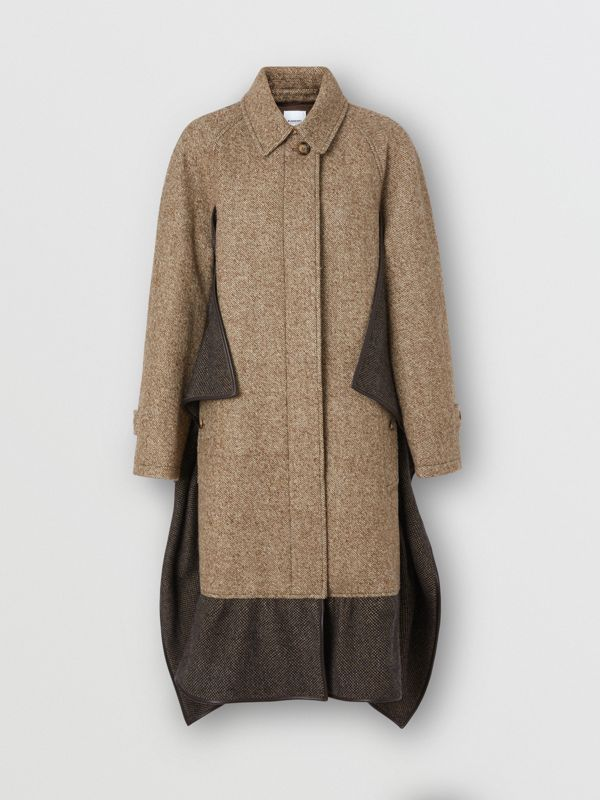 Scarf Detail Wool Mohair Tweed Car Coat in Dark Cheshnut Brown - Women | Burberry - cell image 3