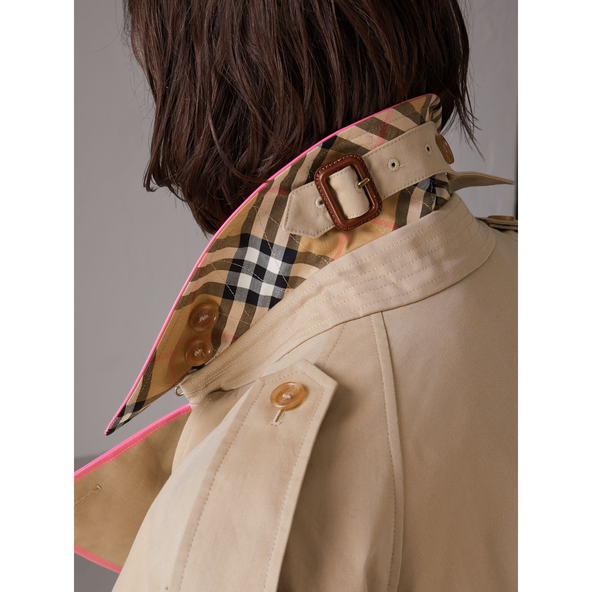 Tape Detail Cotton Gabardine Trench Coat in Honey - Women | Burberry - gallery image 4
