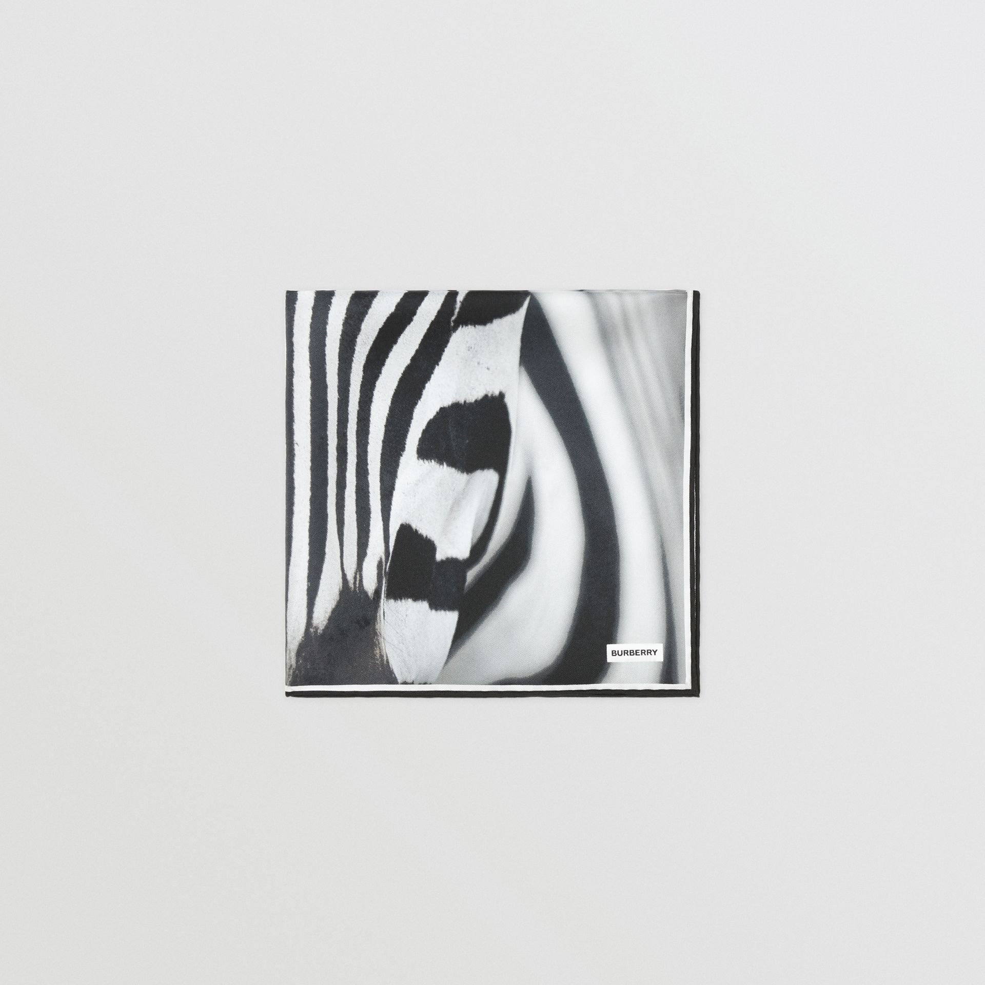 Zebra Print Silk Small Square Scarf in Monochrome | Burberry - gallery image 3