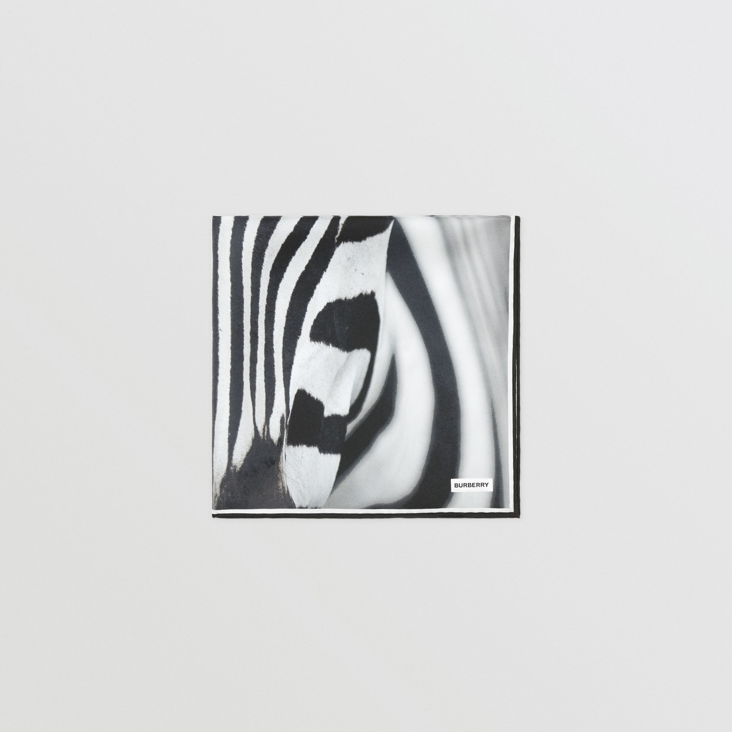 Zebra Print Silk Small Square Scarf in Monochrome | Burberry - 4