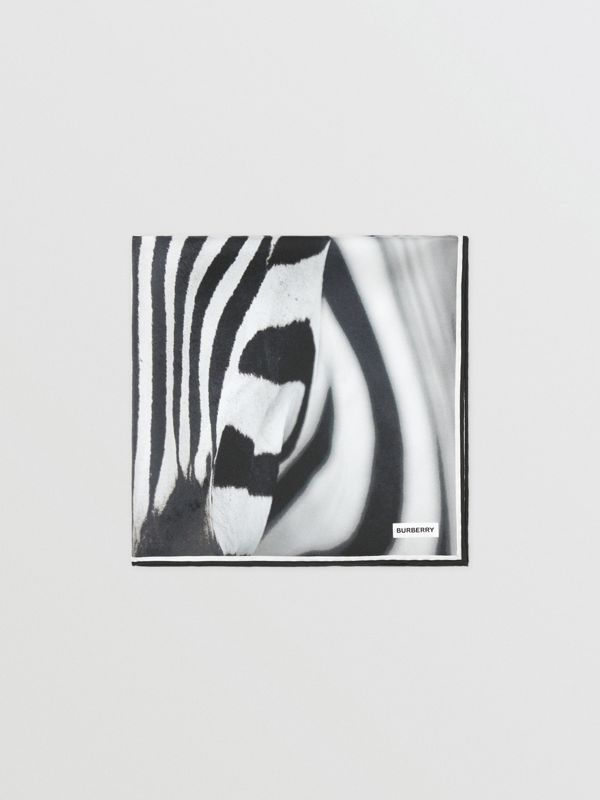 Zebra Print Silk Small Square Scarf in Monochrome | Burberry - cell image 3