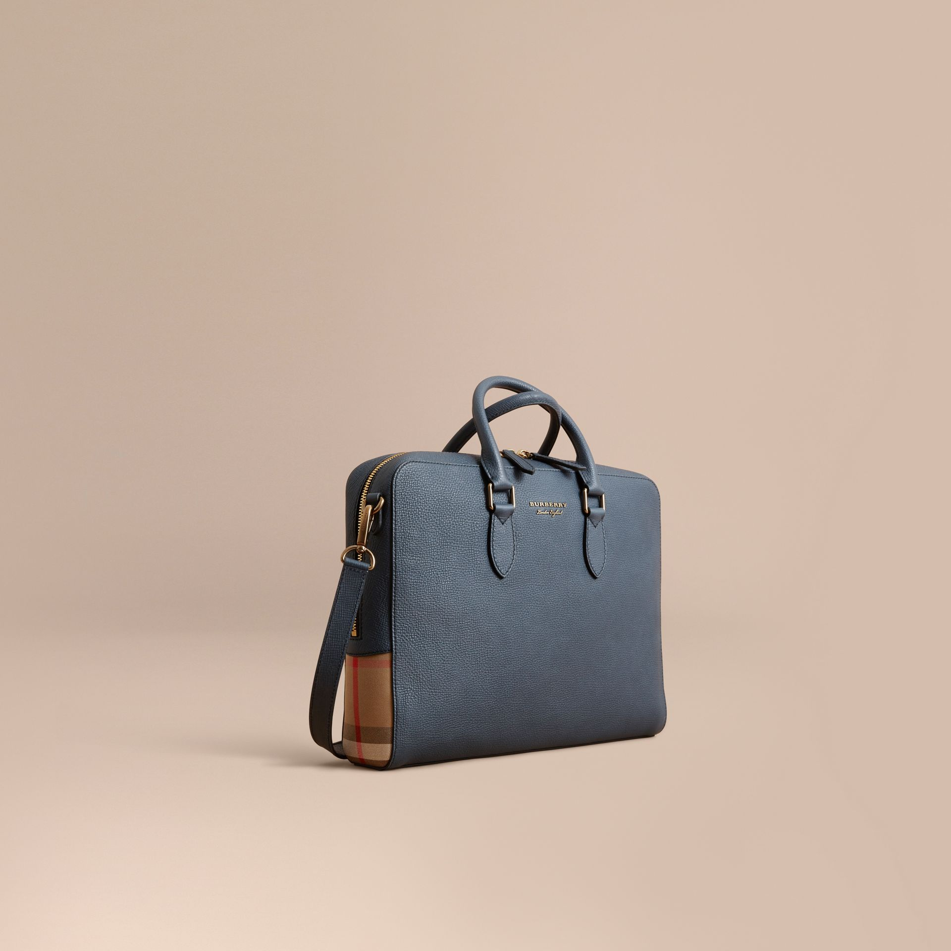 Leather and House Check Briefcase in Storm Blue - Men | Burberry - gallery image 1