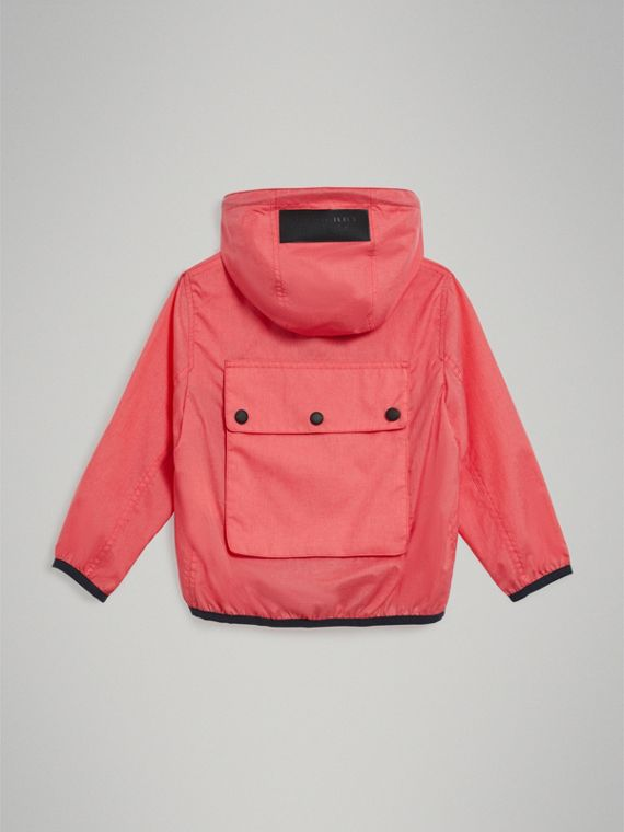 Showerproof Hooded Jacket in Bright Coral Pink - Girl | Burberry - cell image 3