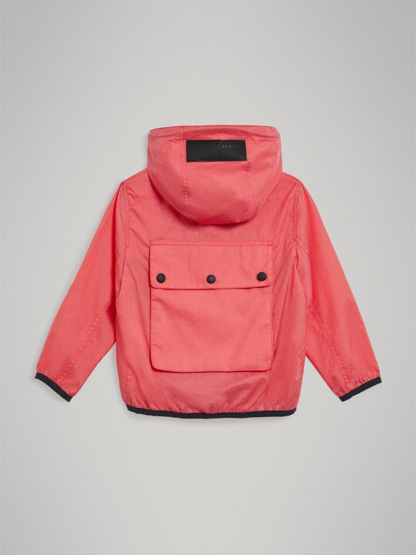 Showerproof Hooded Jacket in Bright Coral Pink - Girl | Burberry United States - cell image 3