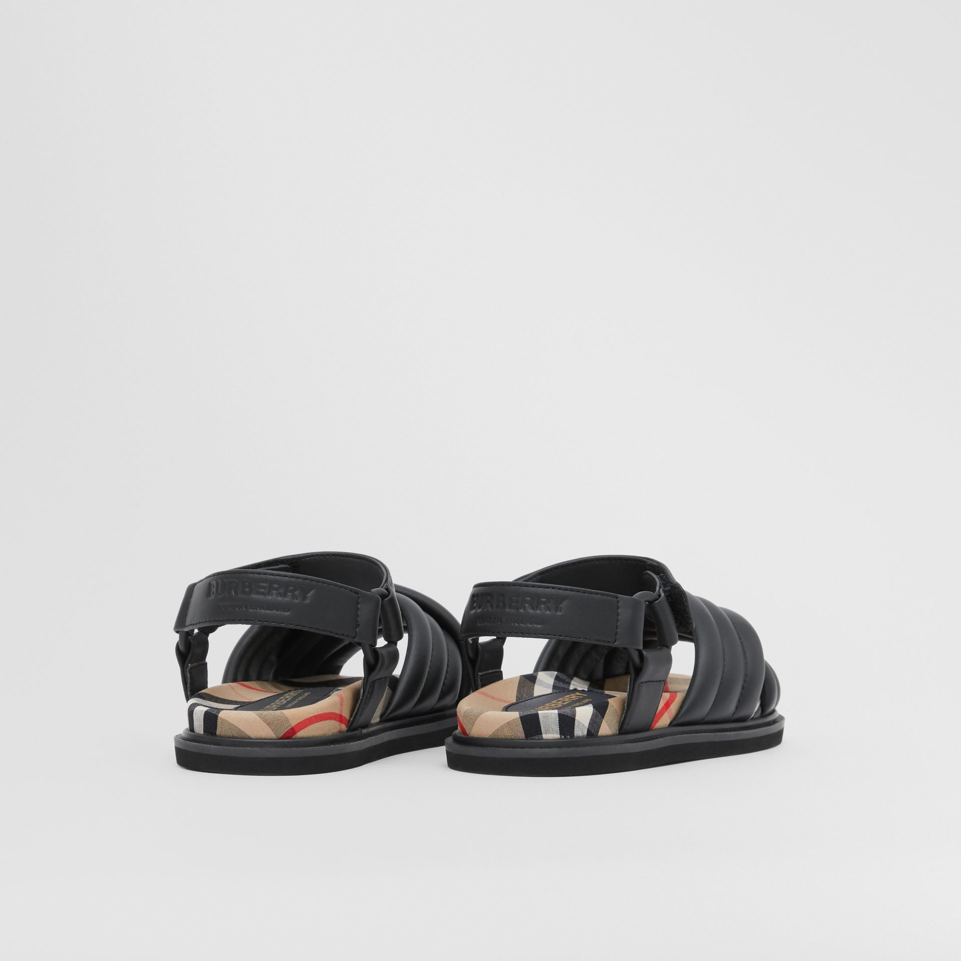 Vintage Check-lined Quilted Sandals in Black - Children | Burberry - gallery image 2