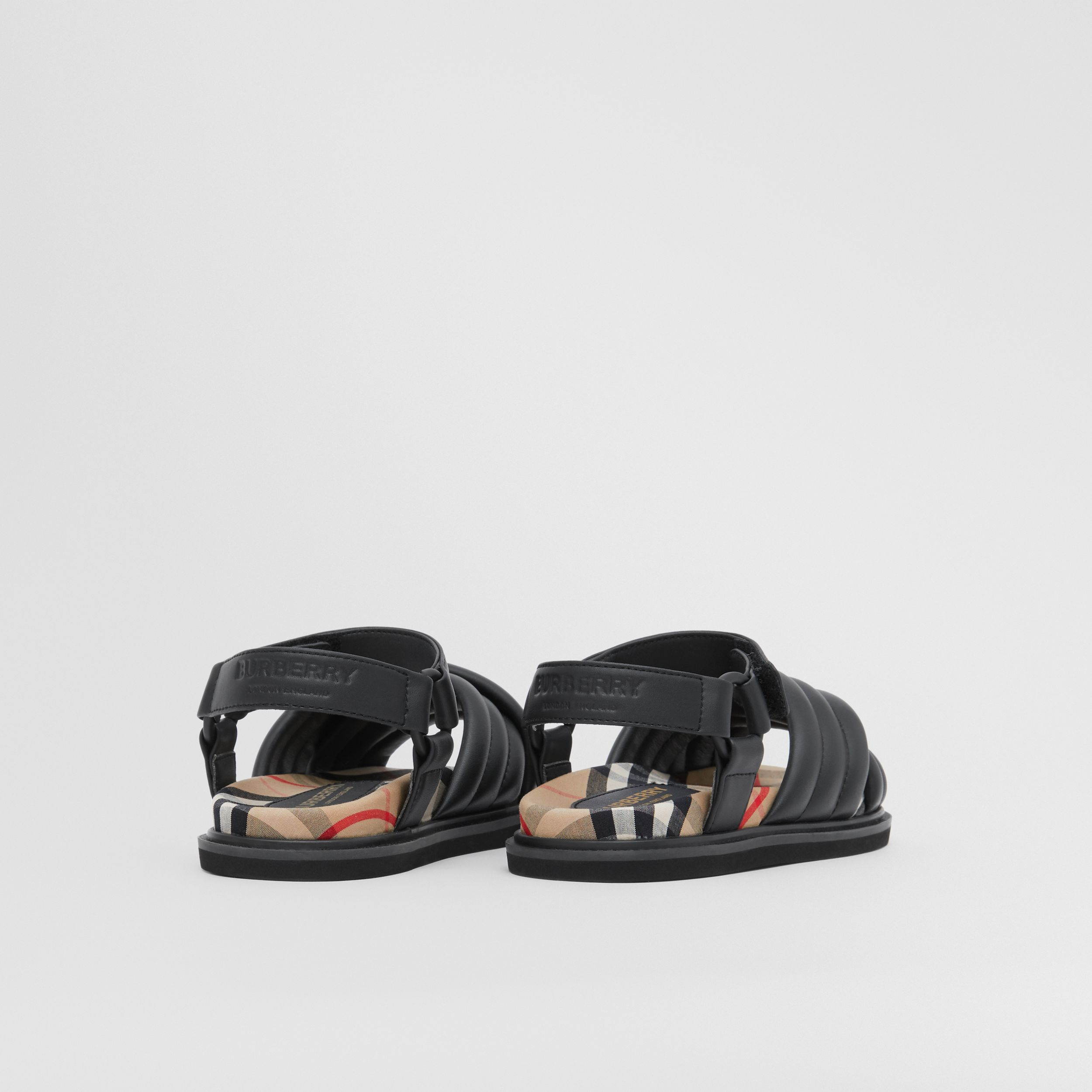 Vintage Check-lined Quilted Sandals in Black - Children | Burberry - 3