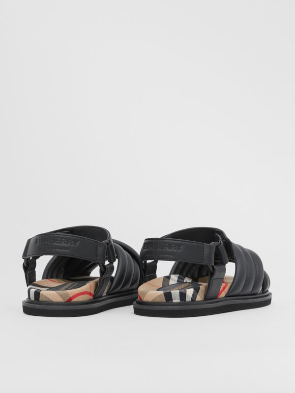 Vintage Check-lined Quilted Sandals in Black - Children | Burberry - cell image 2