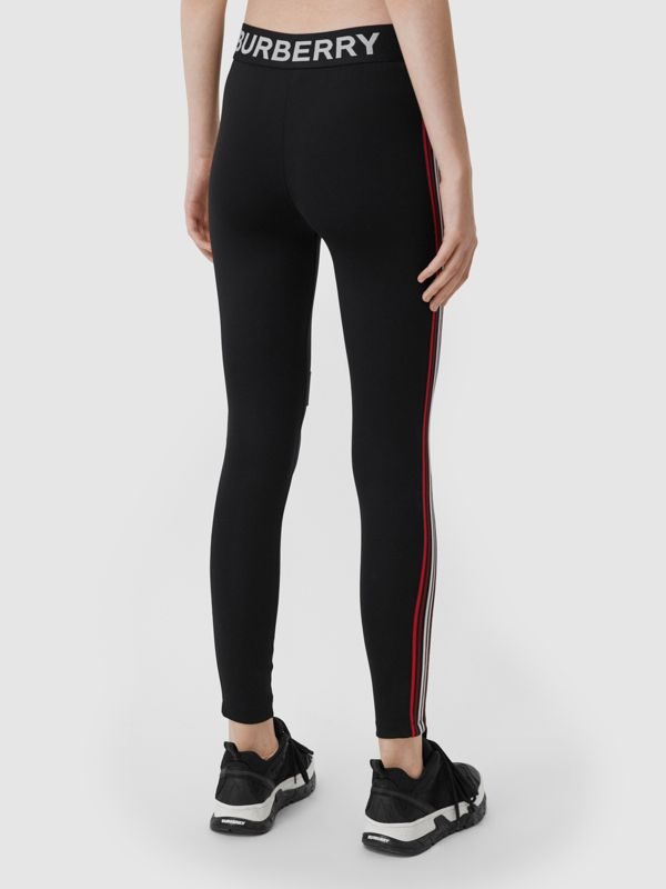 Logo Graphic Stretch Jersey Leggings in Black - Women | Burberry - cell image 2