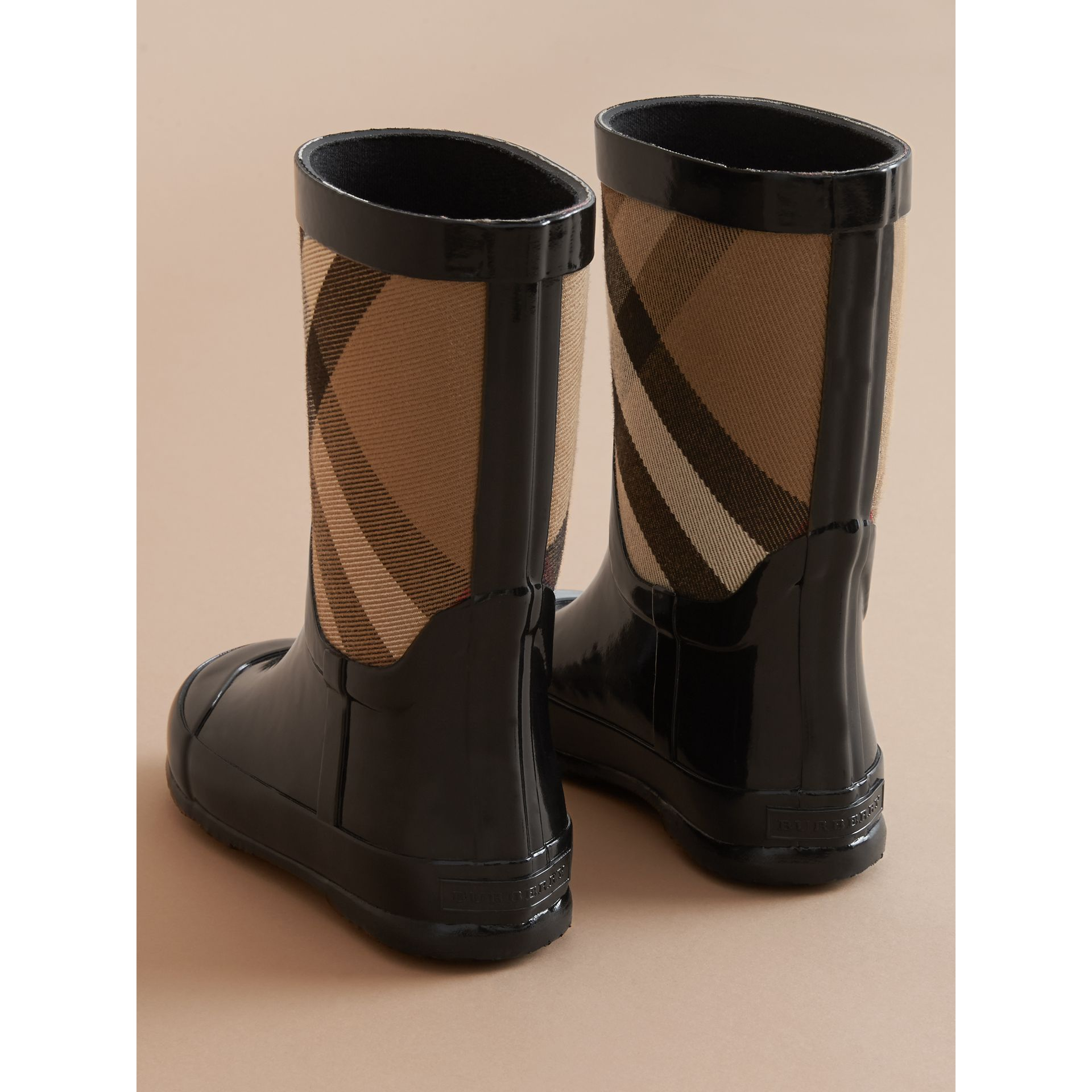 House Check Panel Rain Boots in Black | Burberry - gallery image 3