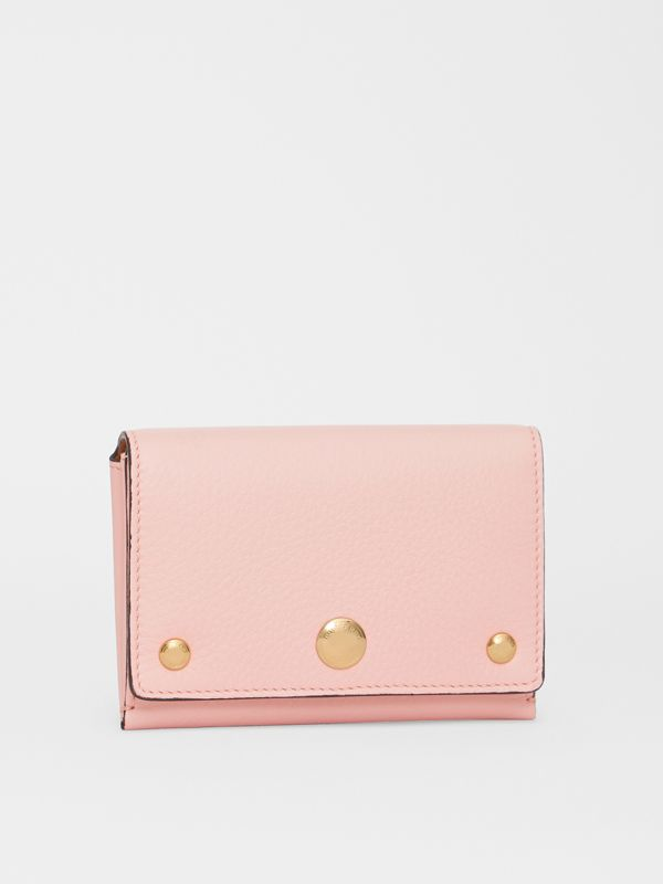 Triple Stud Leather Folding Wallet in Pale Ash Rose - Women | Burberry - cell image 3
