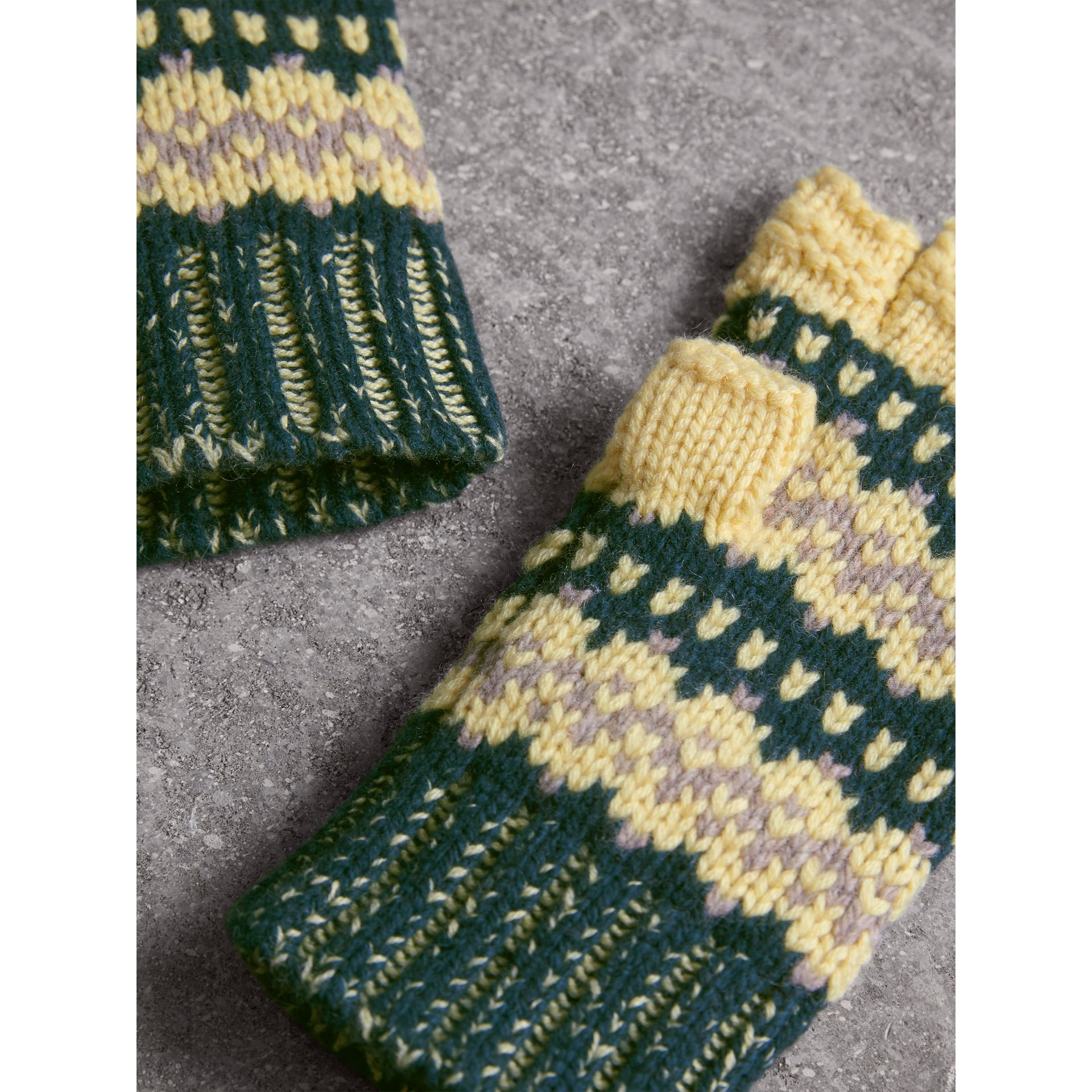 Fair Isle Cashmere Wool Blend Fingerless Gloves in Pine Green | Burberry - gallery image 4