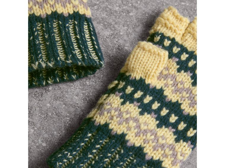 Fair Isle Cashmere Wool Blend Fingerless Gloves in Pine Green | Burberry - cell image 4
