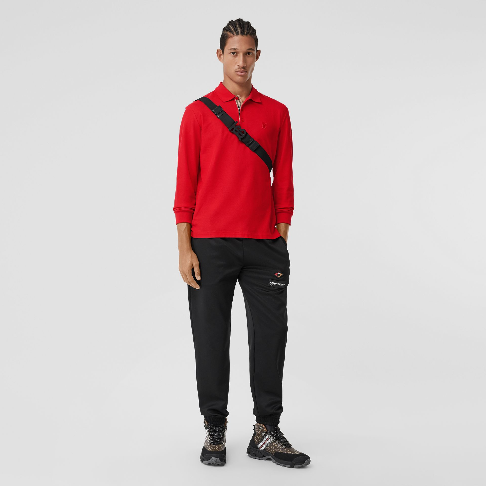 Long-sleeve Monogram Motif Cotton Piqué Polo Shirt in Bright Red - Men | Burberry - gallery image 0
