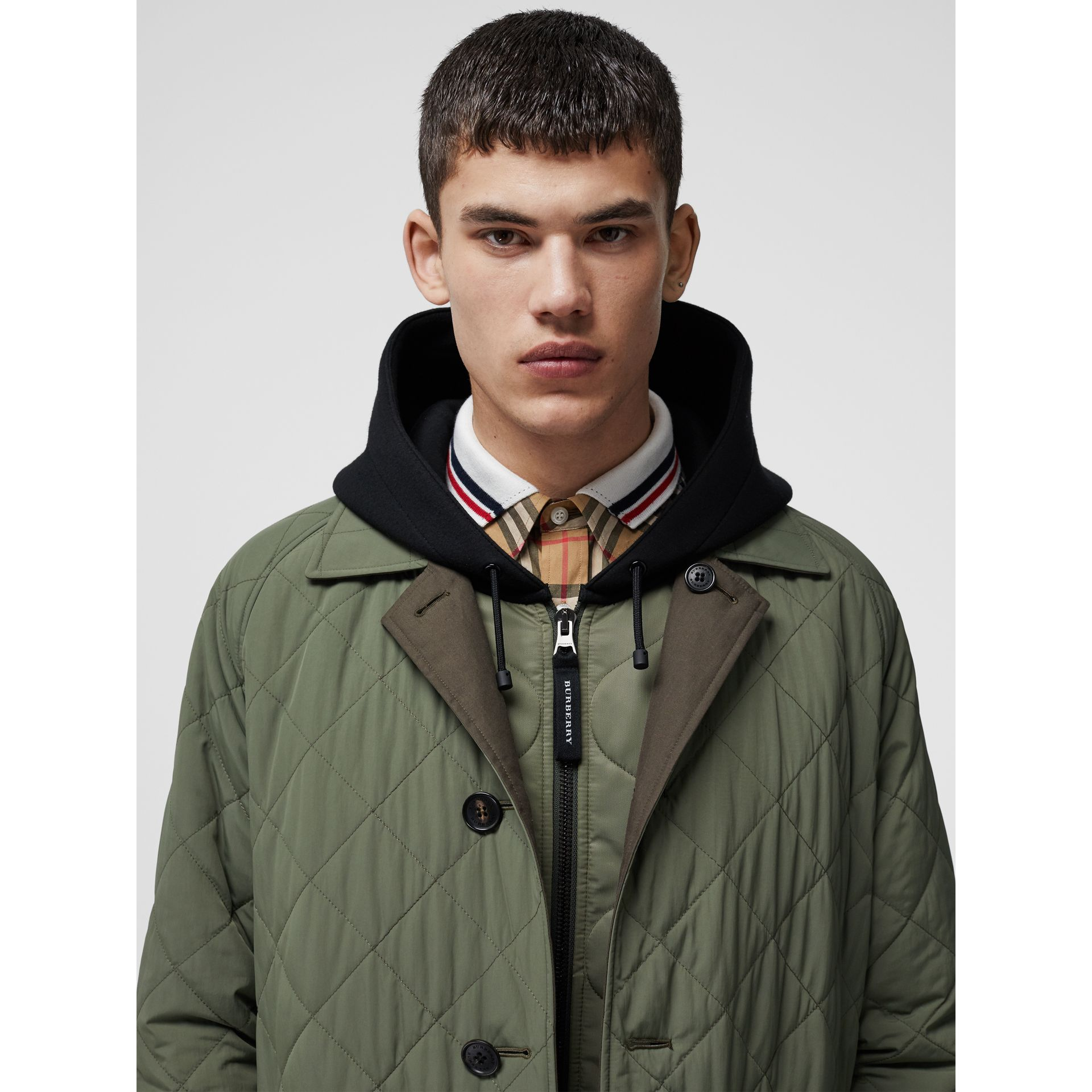 Reversible Diamond Quilted and Cotton Car Coat in Dark Olive - Men | Burberry Singapore - gallery image 1