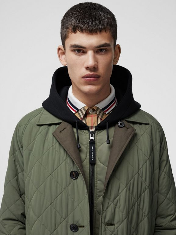 Reversible Diamond Quilted and Cotton Car Coat in Dark Olive - Men | Burberry Singapore - cell image 1