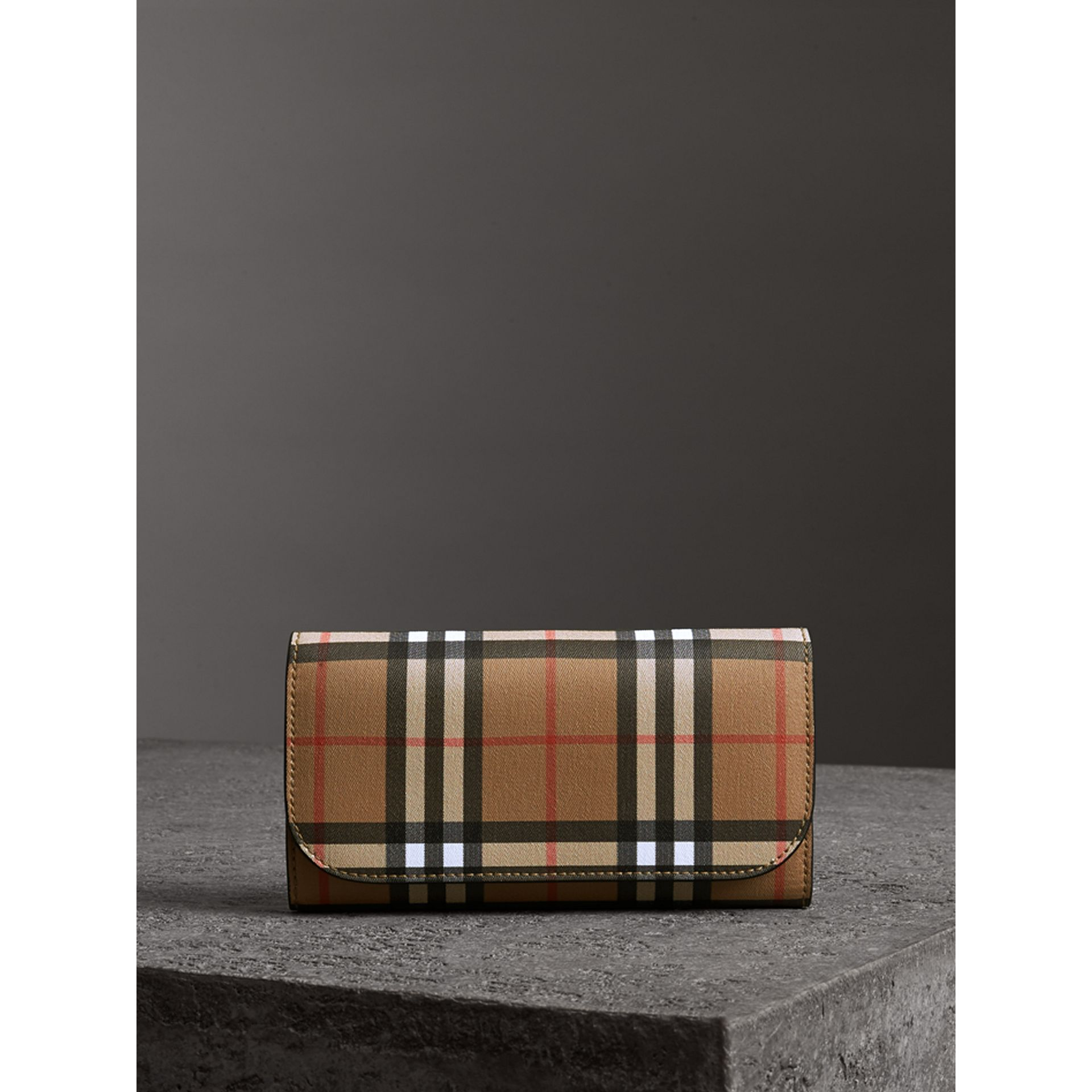 Vintage Check Continental Wallet with Zip Card Case in Black - Women | Burberry - gallery image 4