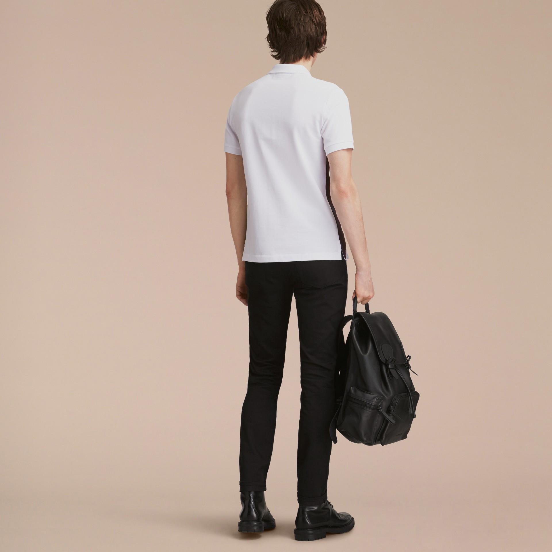 Geometric Motif Cotton Piqué Polo Shirt with Check Placket White - gallery image 3