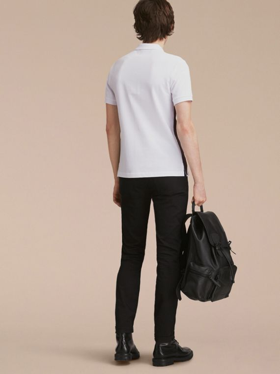 Geometric Motif Cotton Piqué Polo Shirt with Check Placket White - cell image 2