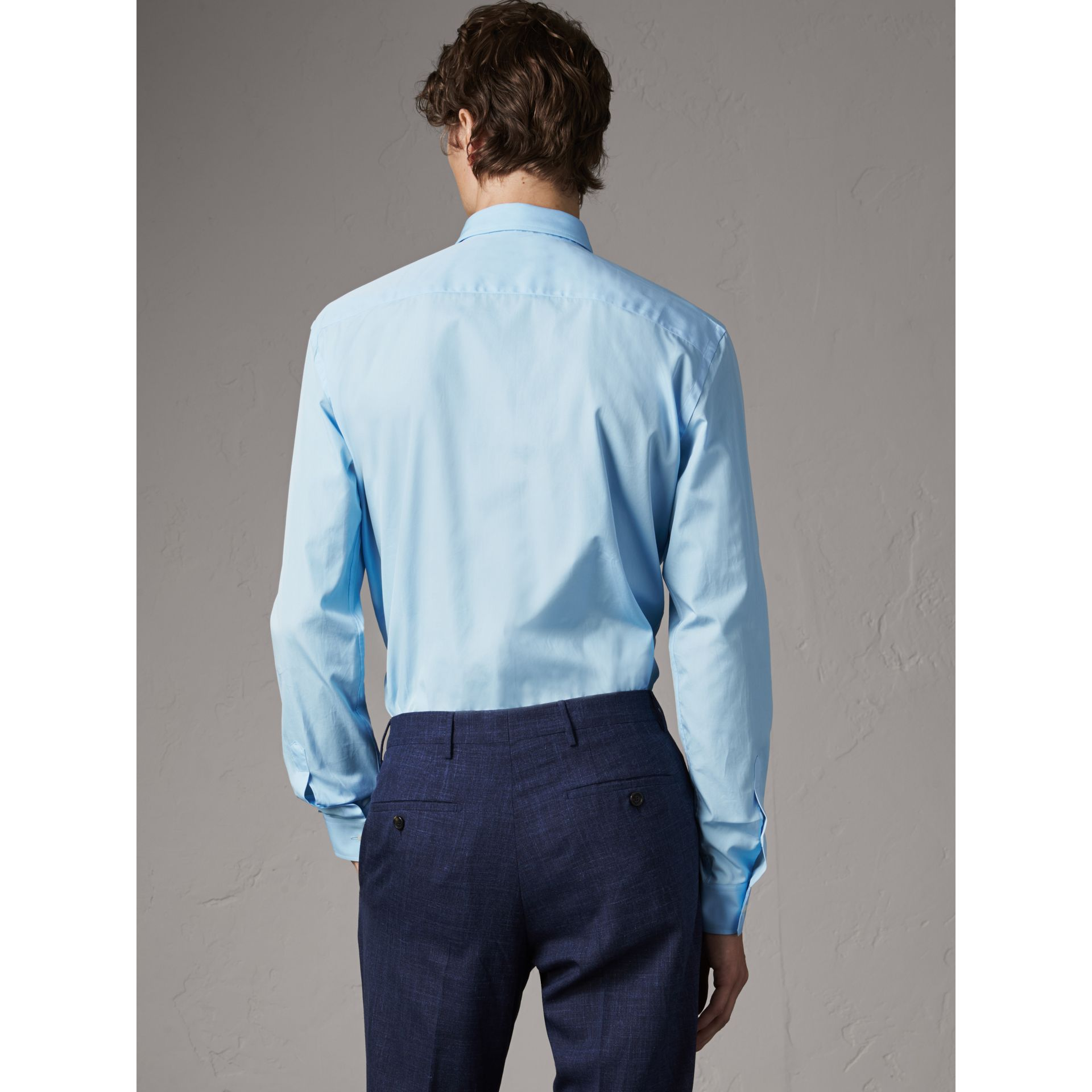 Modern Fit Cotton Poplin Shirt in City Blue - Men | Burberry Australia - gallery image 3
