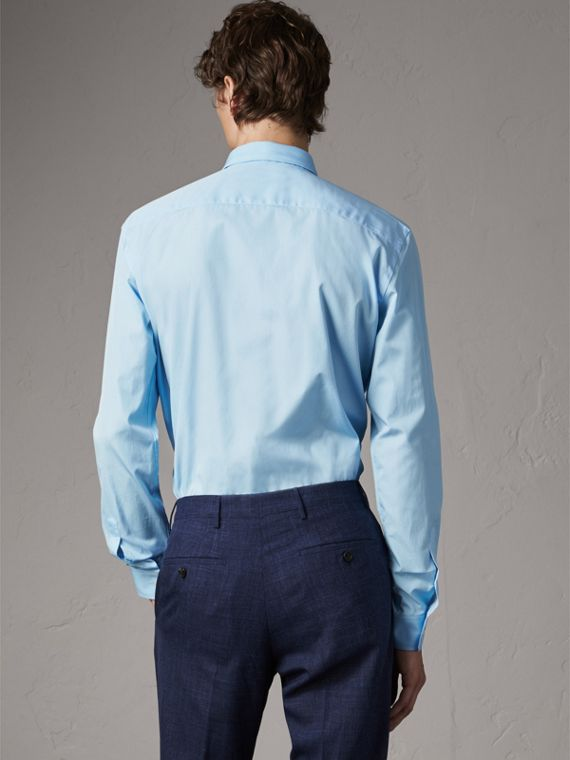 Modern Fit Cotton Poplin Shirt in City Blue - Men | Burberry Australia - cell image 2